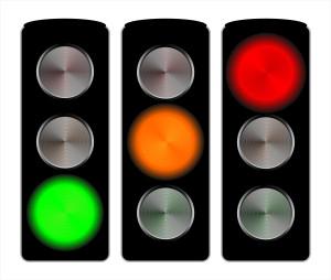 Feux de signalisation trois couleurs